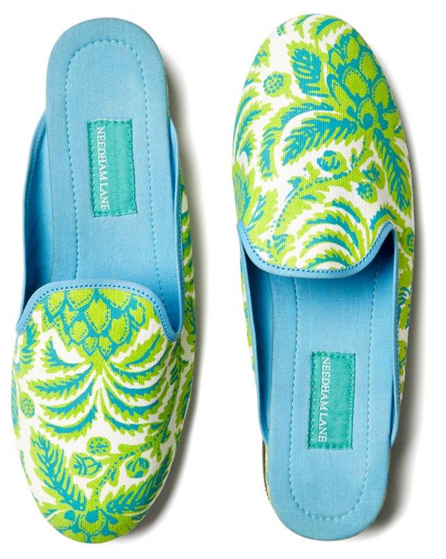 Pineapple Slippers, Green/Blue