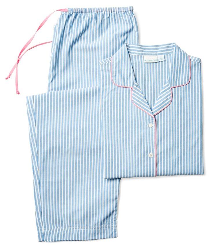Stripe Long-Sleeve Pajamas, Blue