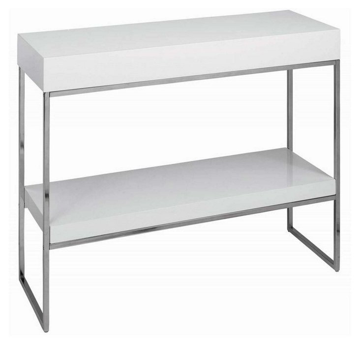 Fred Console w/ Shelf, White/Silver