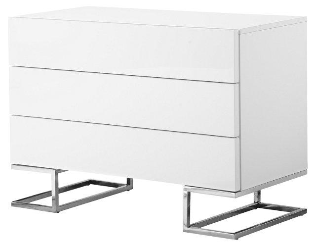 "Harper 39"" Modern Lacquer Dresser, White"