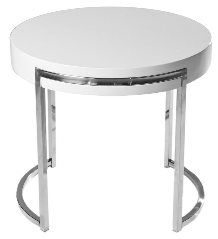 Riso Round Side Table, White/Silver