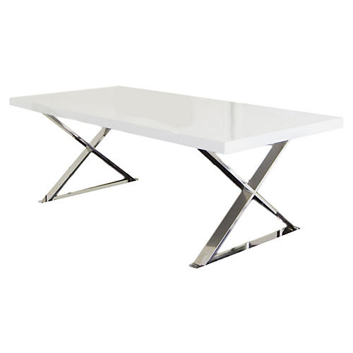 "X-Leg 87"" Dining Table, White Lacquer"