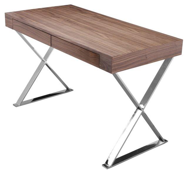 Alba X-Leg Desk, Walnut