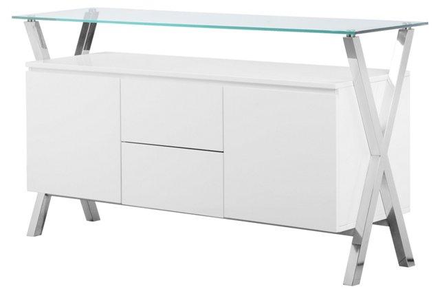 """Beverly 63"""" Modern Glass Buffet, White"""