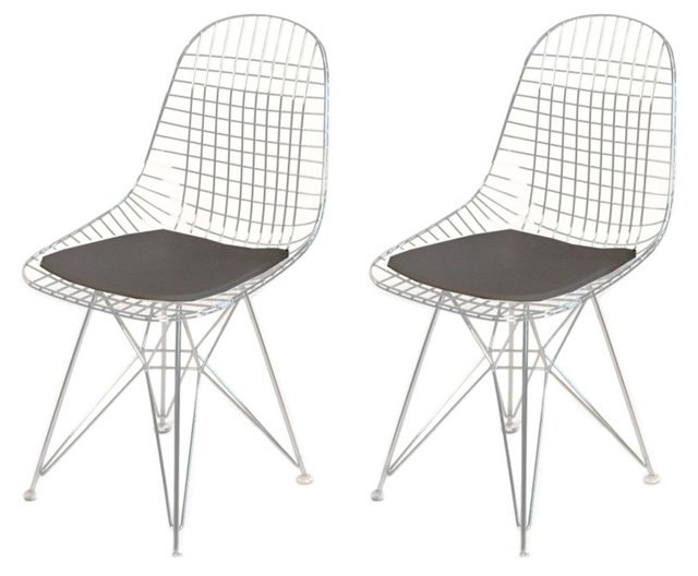 Silver/Black Lathi Chairs, Pair