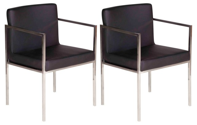Black Glendale Dining Chairs, Pair