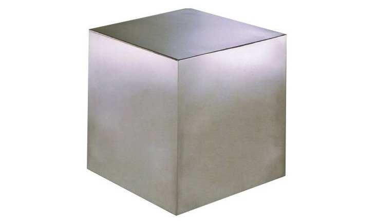 Large Cubix Side Table, Brushed Metal