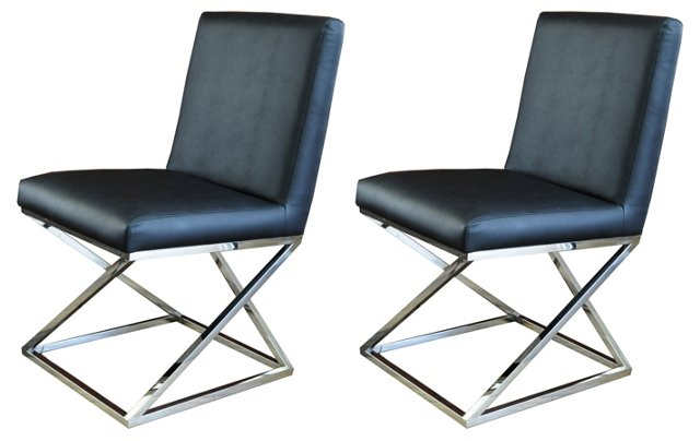 Black Vertigo Dining Chair, Pair