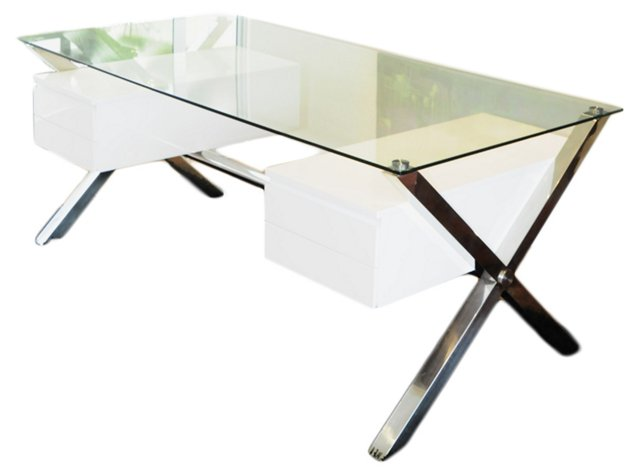 *IK Large Kildeer Desk, White