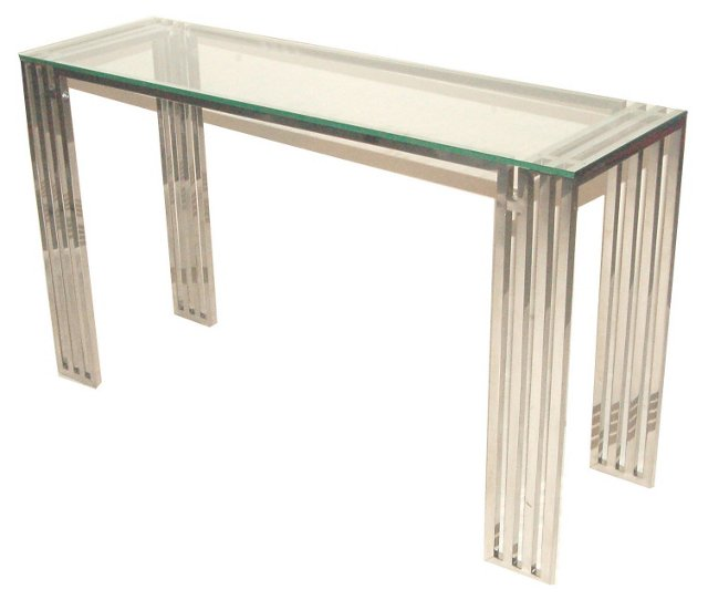 Founder Glass Console, Silver