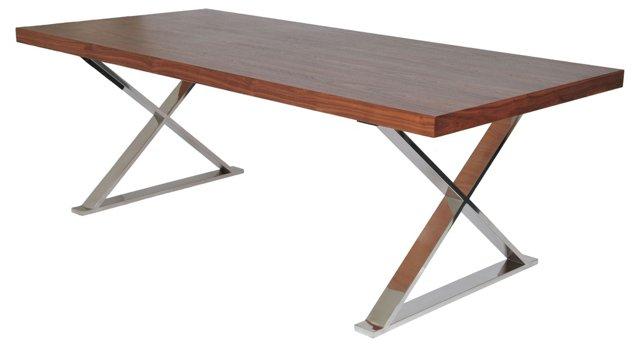 "X-Leg 87"" Dining Table, Walnut"
