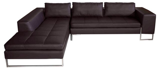 London Left-Arm Sectional, Brown