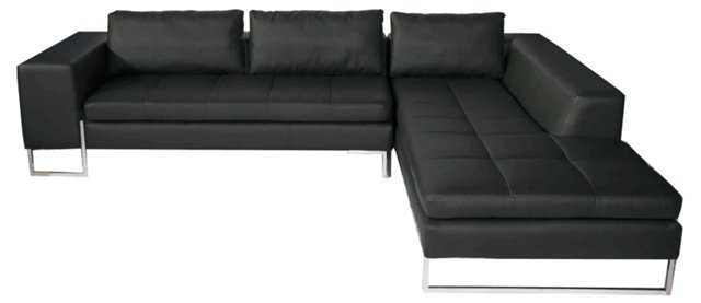 London Right-Arm Sectional, Black