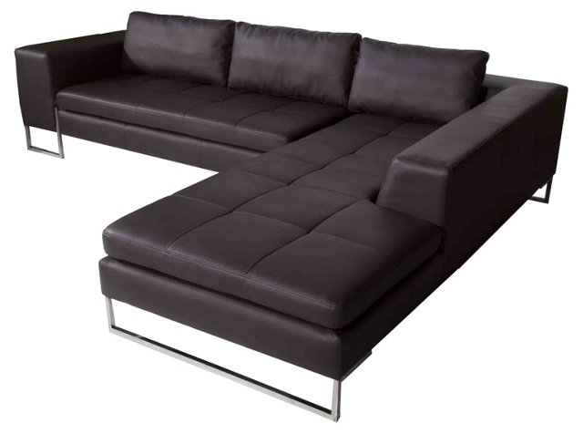 London Right Arm Sectional, Brown