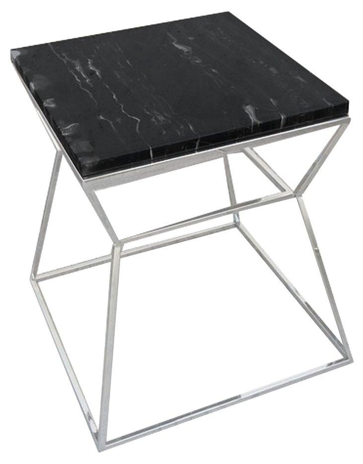 Geo Marble Side Table, Black
