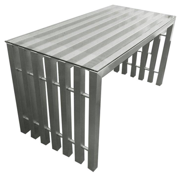 """Vlad 55"""" Desk, Brushed Metal"""