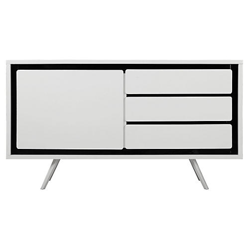 Hal Modern Lacquer Sideboard, Black/White