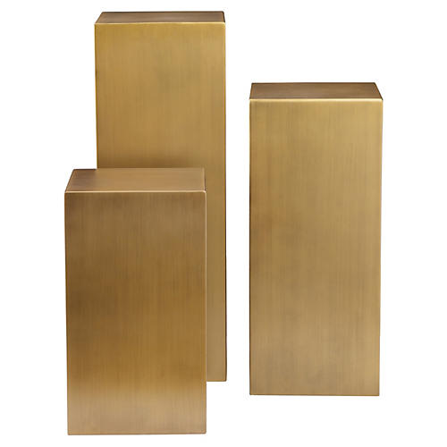 Miami Pedestal Set, Brushed Brass