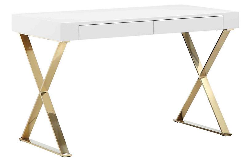 X-Leg Desk, White/Gold