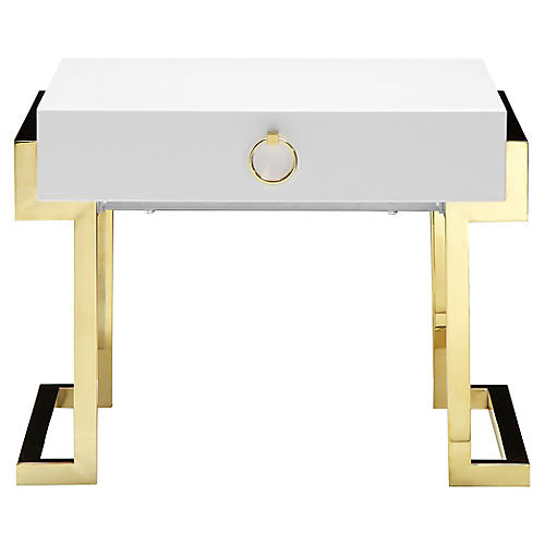 Julia Nightstand, White/Gold