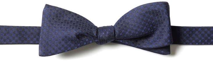 Silk Check Bow Tie, Navy