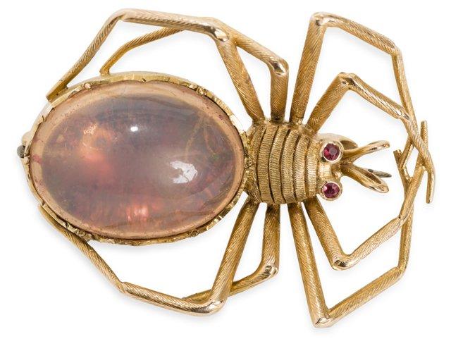 Vintage Opal Spider Brooch
