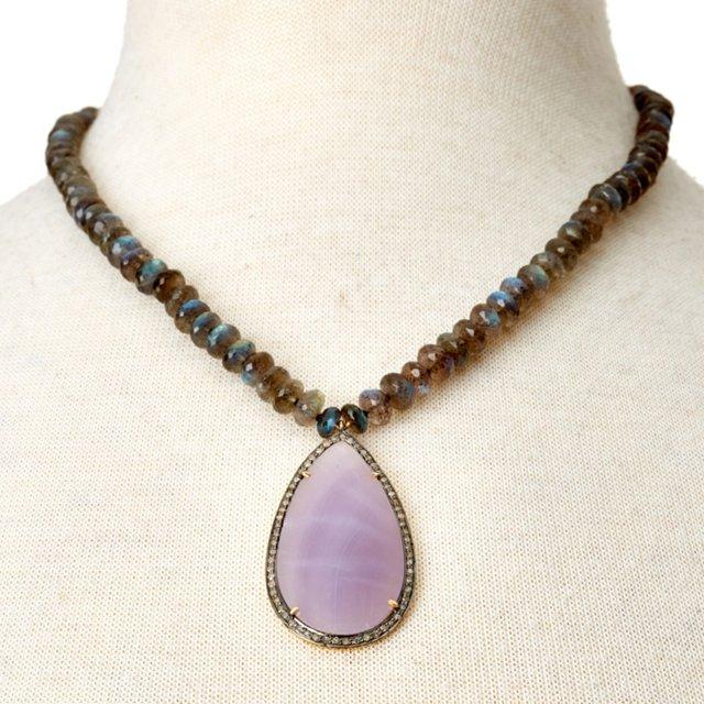 Labradorite w/ Purple Chalcedony Pendant