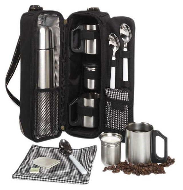 Vienna Coffee Tote for 2, Black