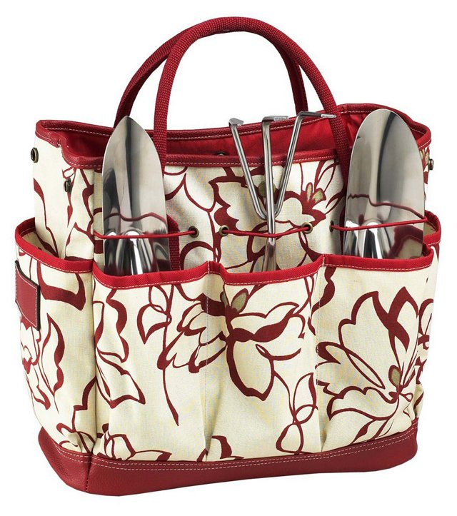 Garden Tote w/ Tools, Red/White