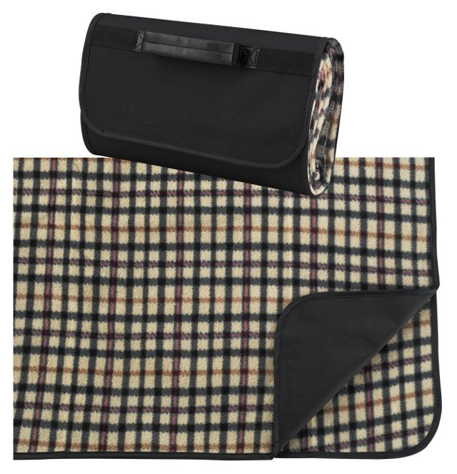Fleece Picnic Blanket Carrier, Tan Plaid