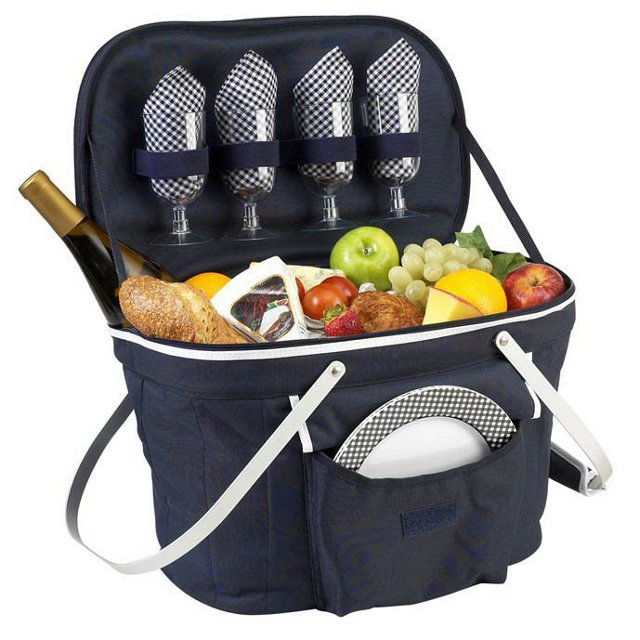 Collapsible Picnic Basket Cooler, Navy