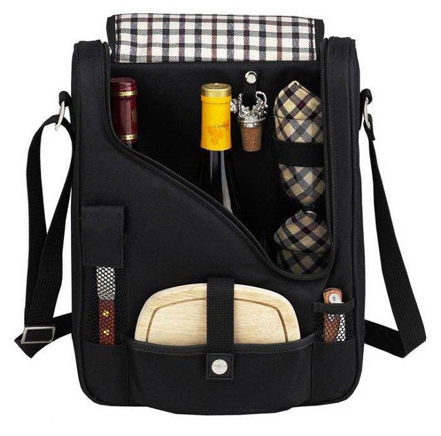 2-Bottle Wine & Cheese Cooler, Black