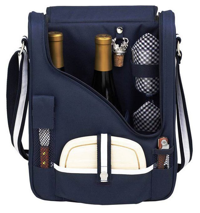2-Bottle Wine & Cheese Cooler, Navy