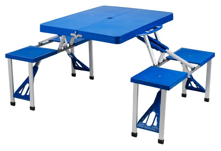Portable Picnic Table Set, Blue