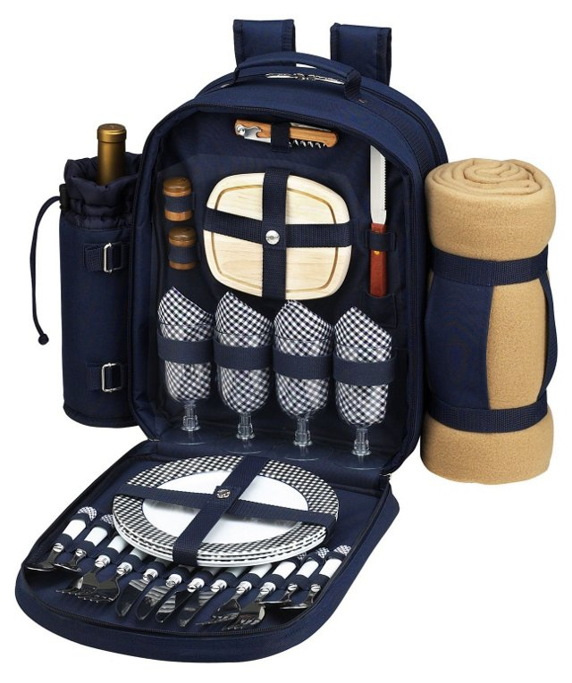 Picnic Backpack for 4, Navy