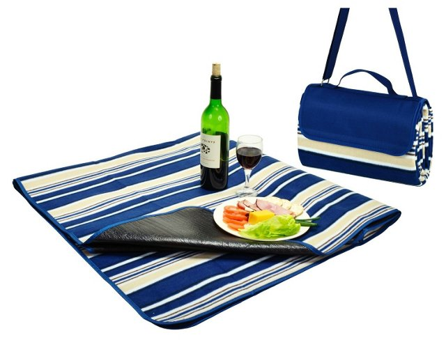 Fleece Picnic Blanket Tote, Blue Stripe