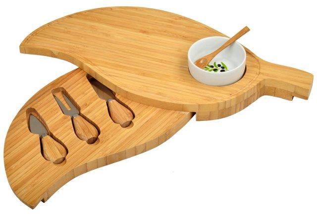 Leaf Cheese Board w/ Dipping Bowl Set
