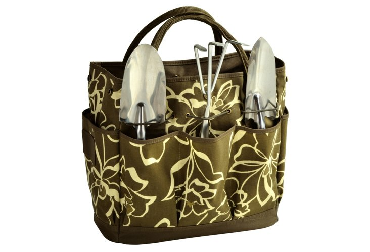 Garden Tote w/ Tools, Printed Olive