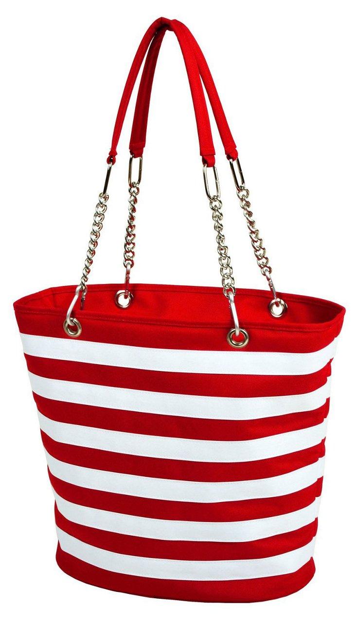 Striped Fashion Cooler Tote, Red/White