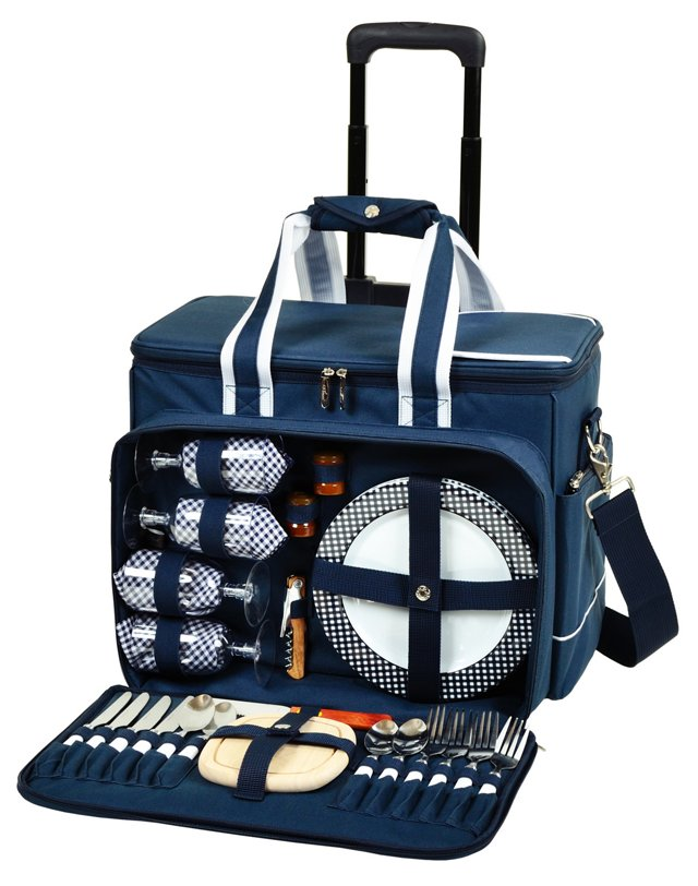 Wheeled Picnic Cooler for 4, Navy