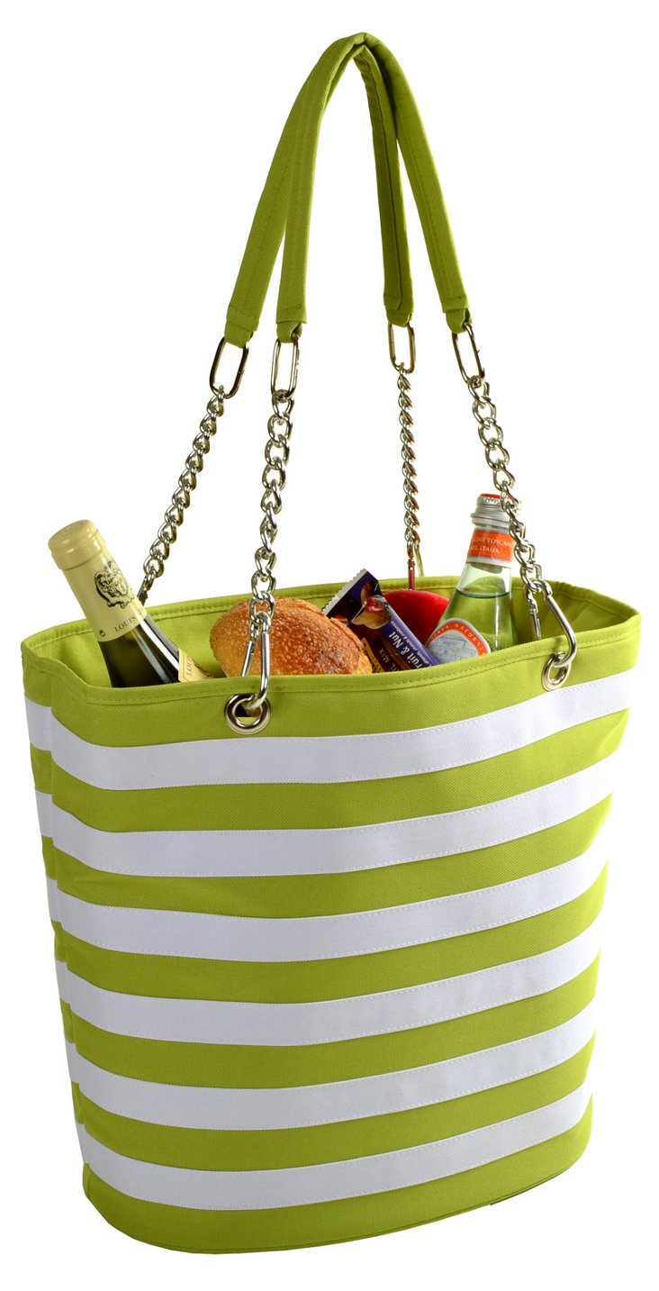 Striped Cooler Tote, Apple Green