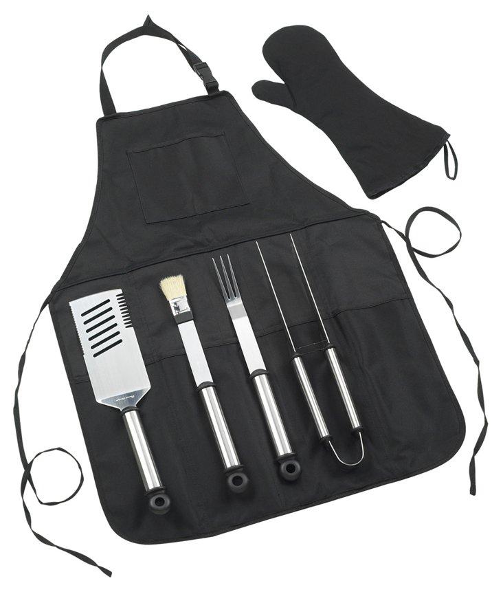 4-Pc BBQ Tool Apron & Mitt Set, Black