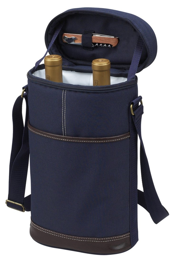 2-Bottle Insulated Wine Carrier, Navy