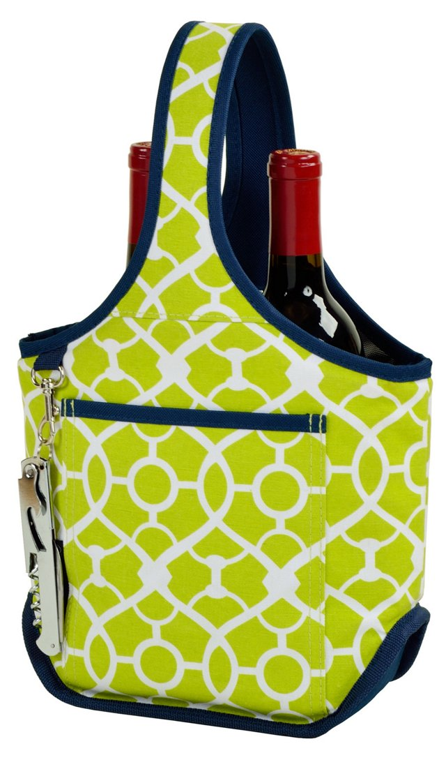 Two-Bottle Carrier, Green Trellis