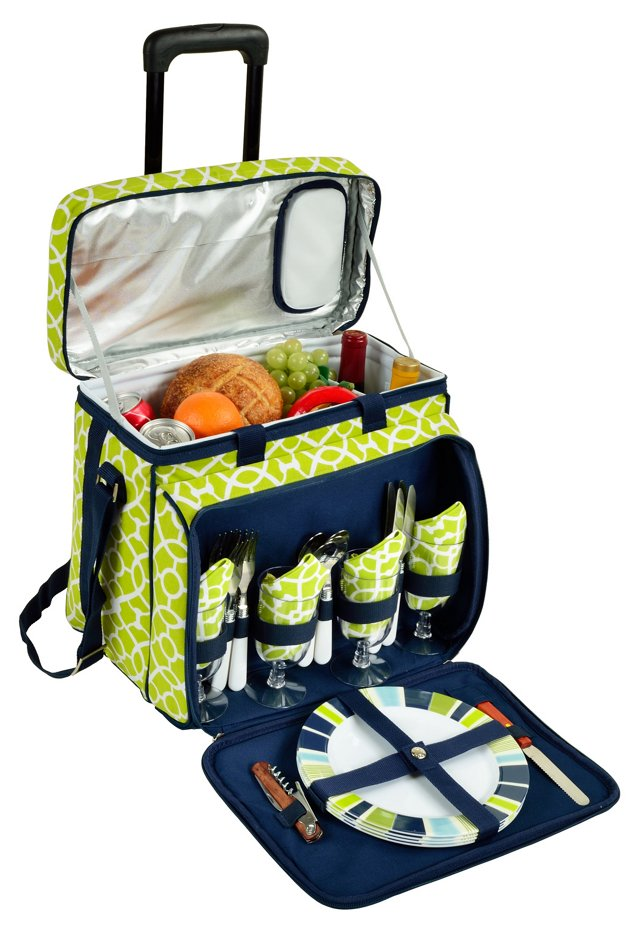 Picnic Cooler for 4 w/ Wheels, Green