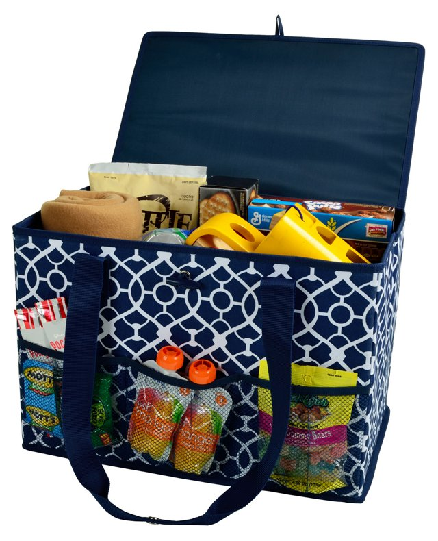 Collapsible Trunk Organizer, Blue/White