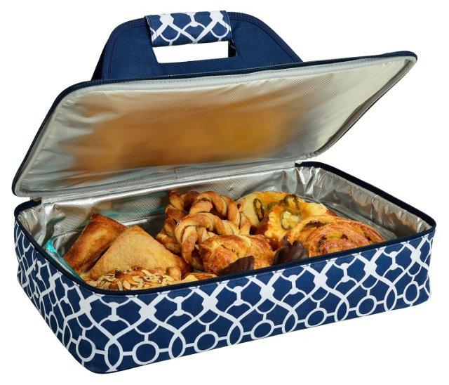 Thermal Food Carrier, Blue Trellis