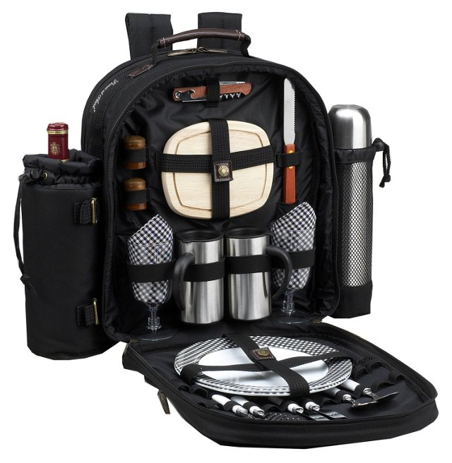 Coffee & Picnic Backpack for 2, Black
