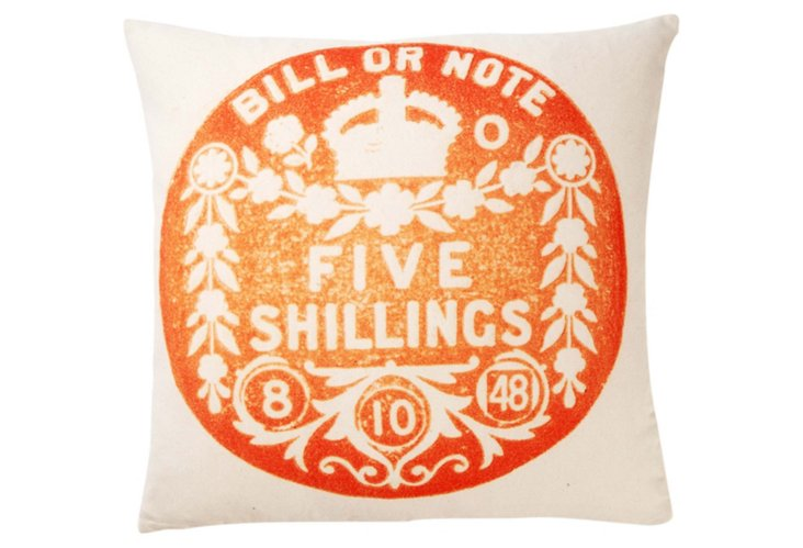 Shillings 20x20 Pillow, Orange