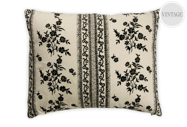 Vintage Ivory & Black Floral Pillow